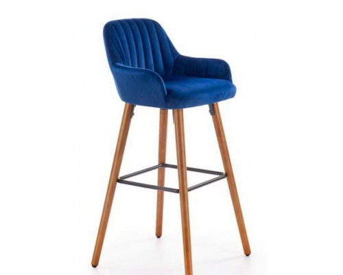 Барный стул H93 синий/орех